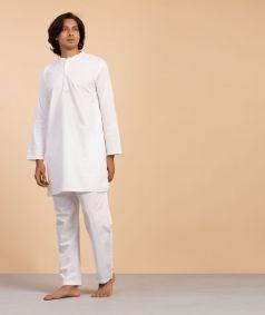 Traditional White Cotton Kurta - Men
