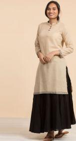 Womens Hemp Kurta in Beige - Long Sleeve